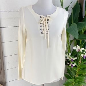 Kensie Long Sleeve Lace Up Pull Over top PreLoved